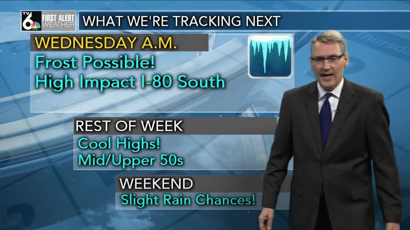 First Alert Forecast - Frost to start our Wednesday with a cool afternoon to follow