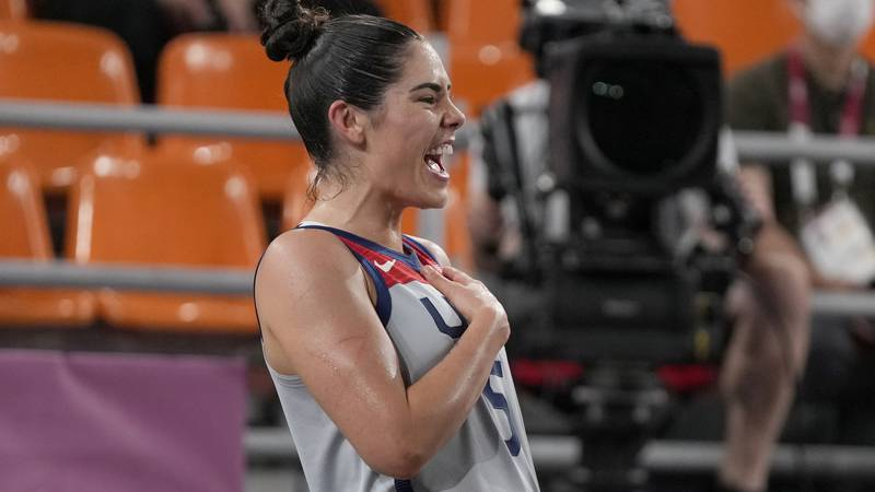United States' Kelsey Plum celebrates victory over Russian Olympic Committee in a women's...