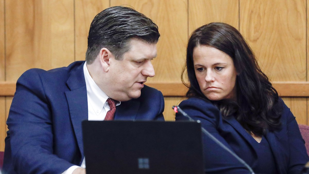 FILE - Defense attorneys Chad Frese and Jennifer Freseconfer during a hearing for their client...