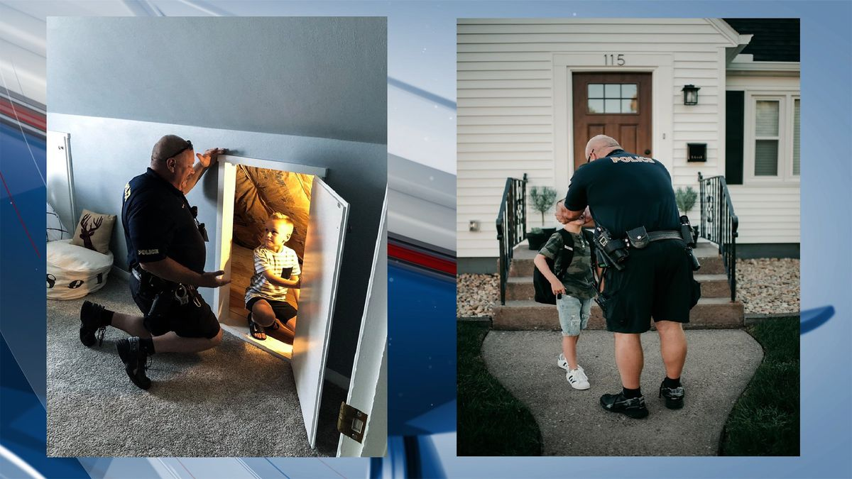 Eldridge Police Officer helps six-year-old fight bad guys in his new room. (Amanda Williams)