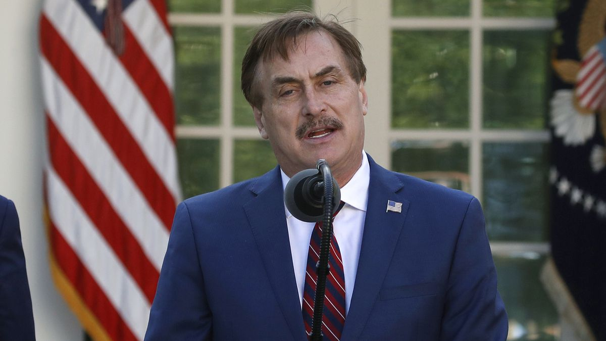 FILE - In this March 30, 2020 file photo, MyPillow CEO Mike Lindell speaks about the...