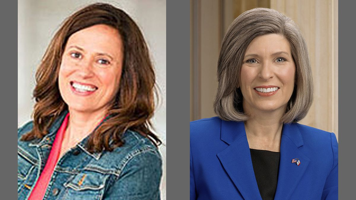 Theresa Greenfield, left, the Democratic challenger in the November 3, 2020, election for the U.S. Senate seat held by Sen. Joni Ernst, right, a Republican.