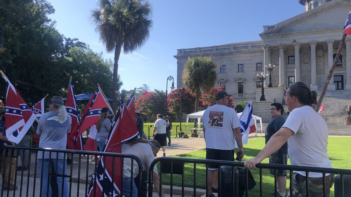 A group held a pro-Confederate flag rally in Columbia, S.C. on Saturday, days after the fourth anniversary of the flag being removed from the Statehouse grounds.