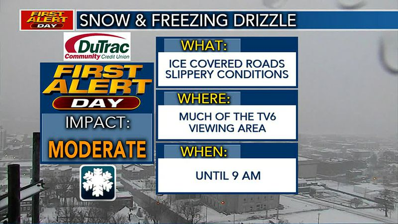FIRST ALERT DAY for Snow & Freezing Drizzle until 9 AM