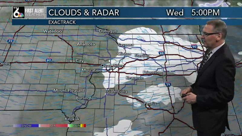 First Alert Forecast - Clouds and flakes Wednesday but temps still warm up, a bit!
