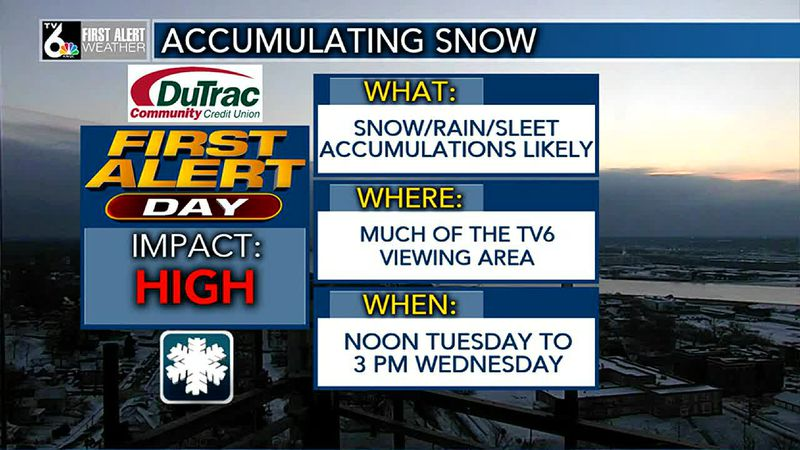 FIRST ALERT DAY from Noon Tuesday to 3 PM Wednesday for accumulating snow.