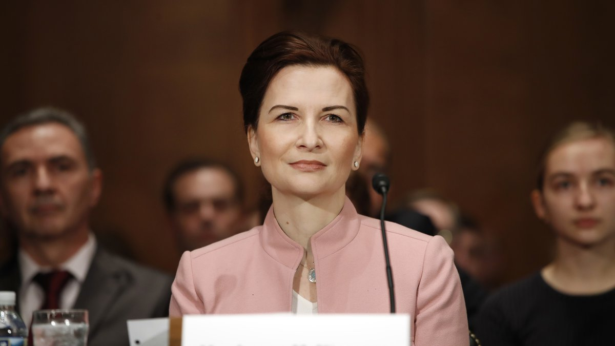 Jelena McWilliams attends a Senate Banking Committee hearing on her nomination, Tuesday, Jan....