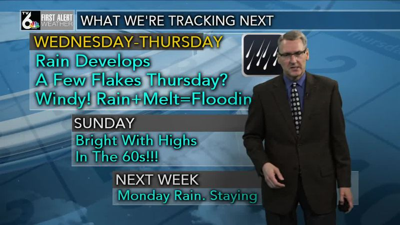 First Alert Forecast - Rain develops Wednesday, heavy at times, with strong winds