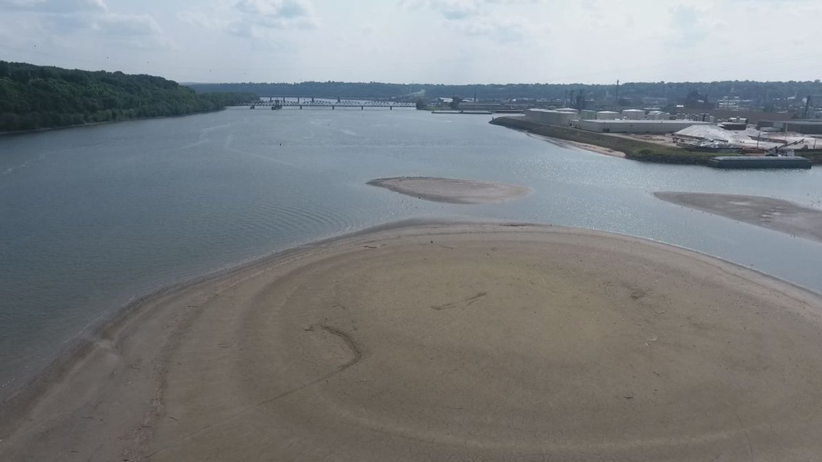 The Mississippi River is low near Chaplain Schmitt Island in Dubuque. (Justin Gehrts, KCRG-TV9)