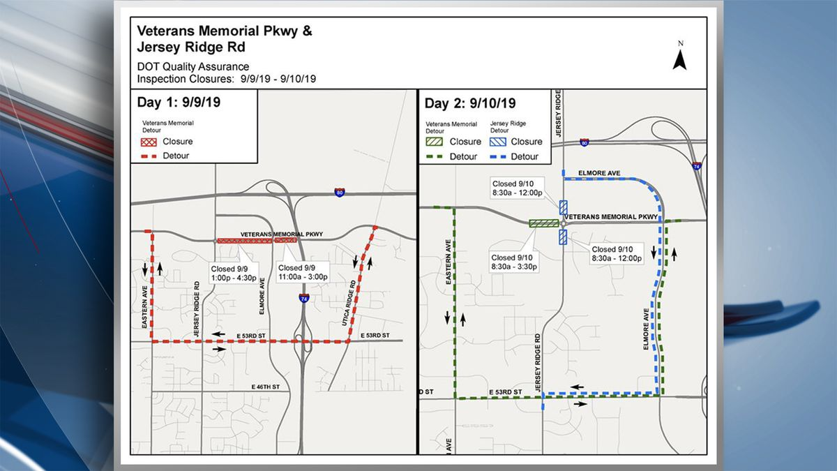 Intermittent lane closures will be expected on Veterans Memorial Parkway between Jersey Ridge and Utica Ridge Roads starting Monday, September 9. (KWQC)