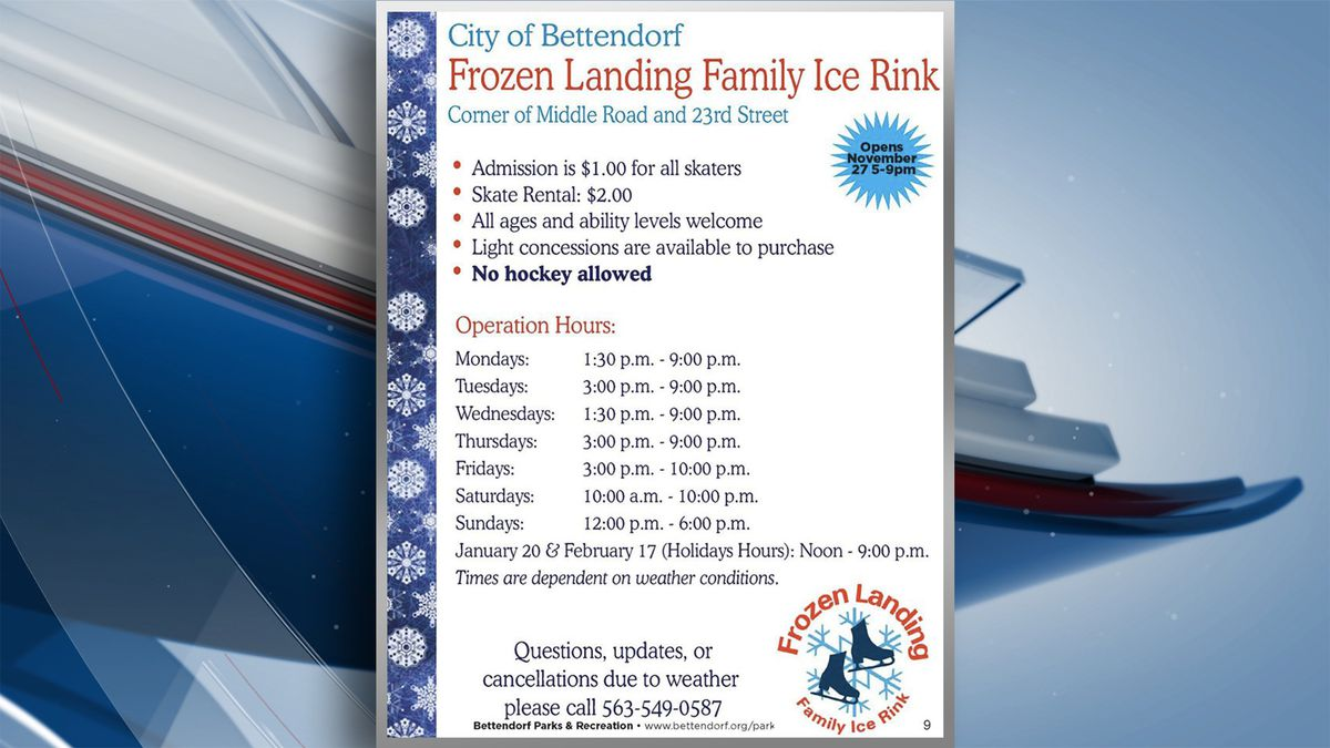 Great news for those wanting to ice-skate, Frozen Landing will open on Tuesday, Dec. 3 at 5:30 p.m. (KWQC)