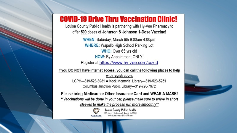 The vaccination clinic is open to those 65 and older and is by appointment only.