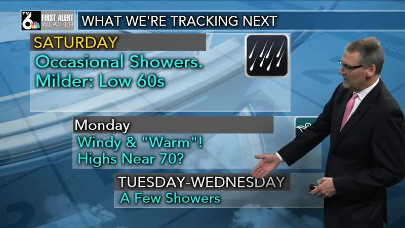 First Alert Forecast - Rain tapers off overnight. Clouds & sun Friday