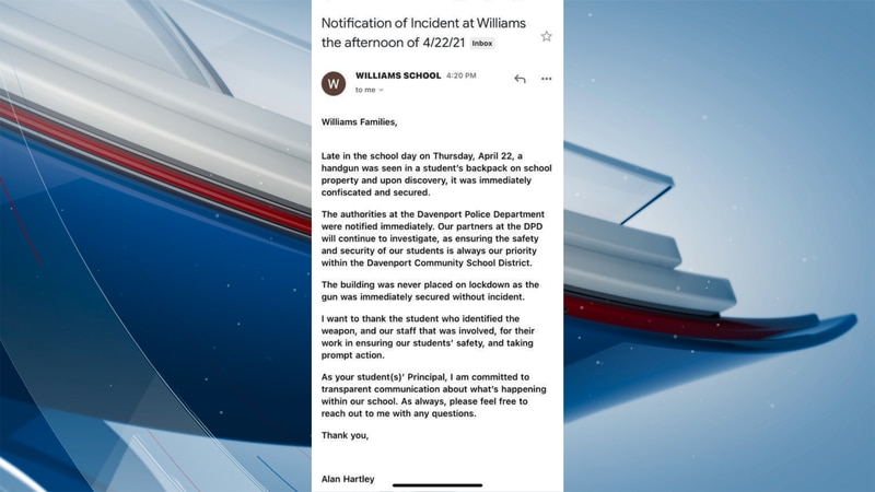 Parents at Williams Intermediate in Davenport say they got an email from the school's...