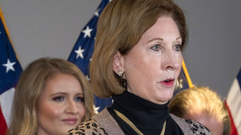 Sidney Powell, a lawyer for President Donald Trump, speaks during a news conference at the...