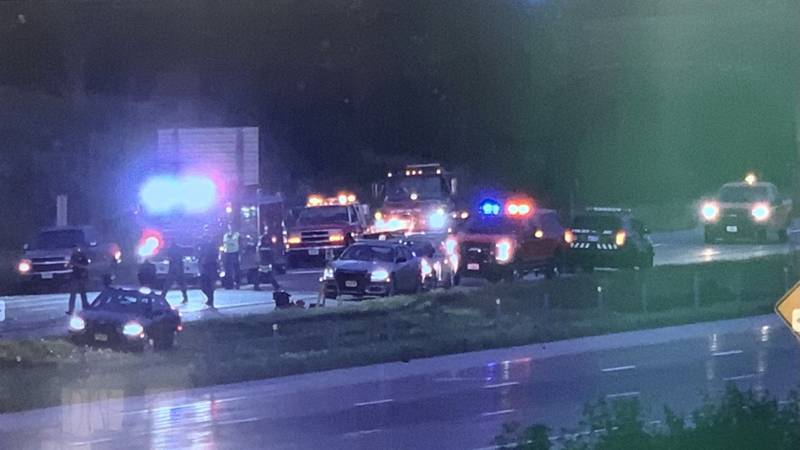 Emergency responders on scene of multi car accident on I-80 in Davenport early Monday.