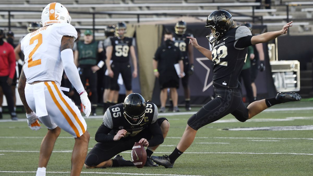 Vanderbilt place kicker Sarah Fuller (32) kicks an extra point during the first quarter of an...