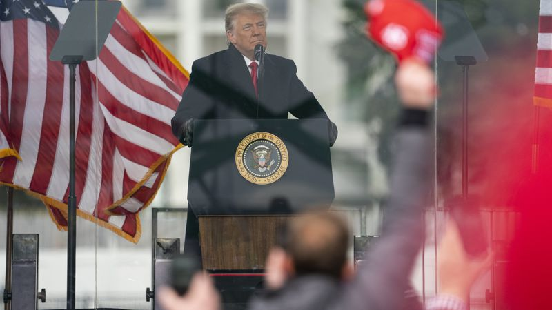 President Donald Trump speaks during a rally protesting the electoral college certification of...