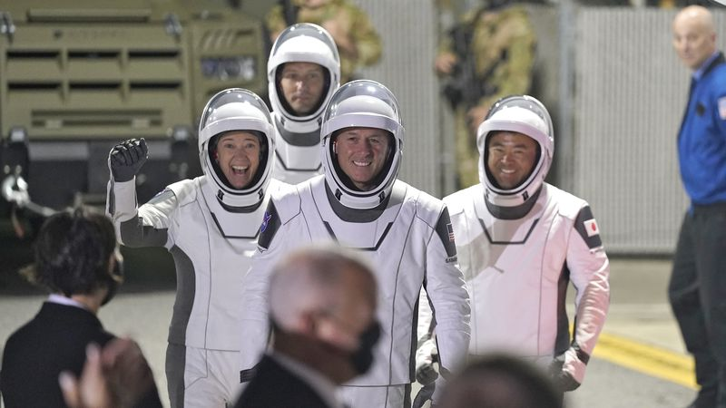 SpaceX astronauts, from left, NASA astronaut Megan McArthur, European Space Agency astronaut...