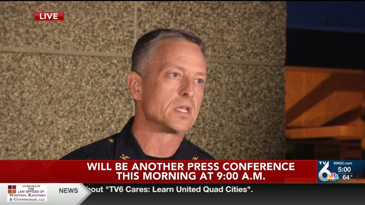"""Two people were fatally shot and two others – including a Davenport police officer – were injured during """"dozens"""" of confirmed gunfire late Sunday and early Monday, Davenport Police Chief Paul Sikorski said. (KWQC)"""