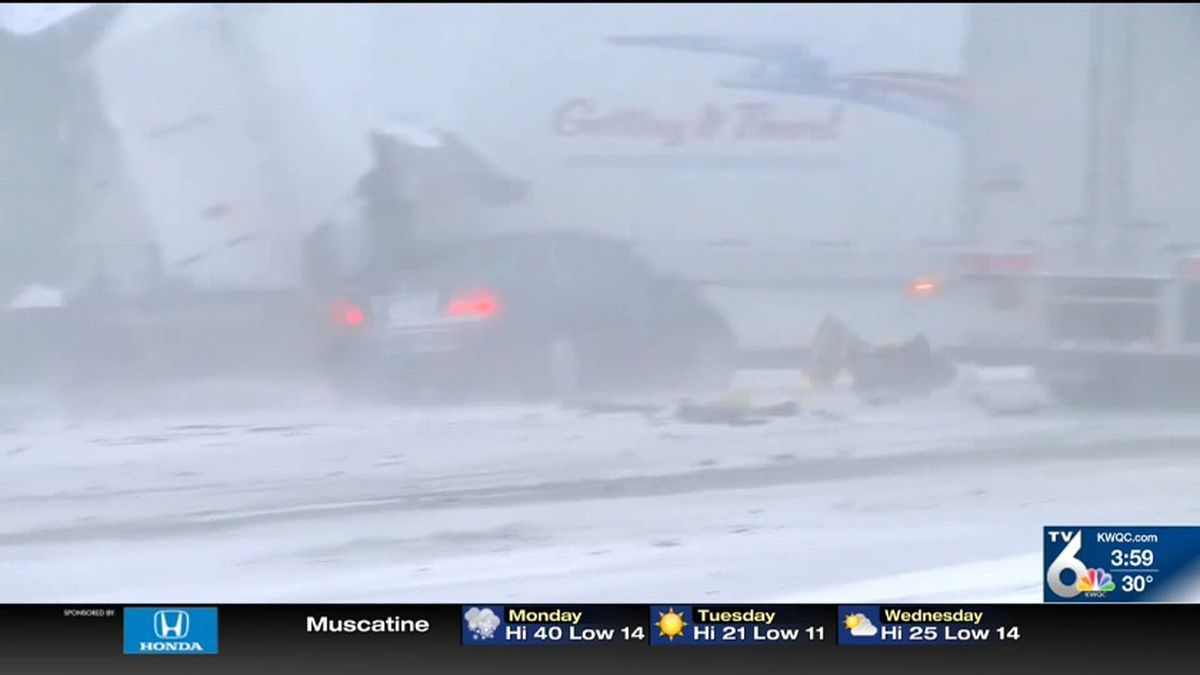 One person is injured after a crash involving more than 50 vehicles in Iowa Monday morning. (NBC)