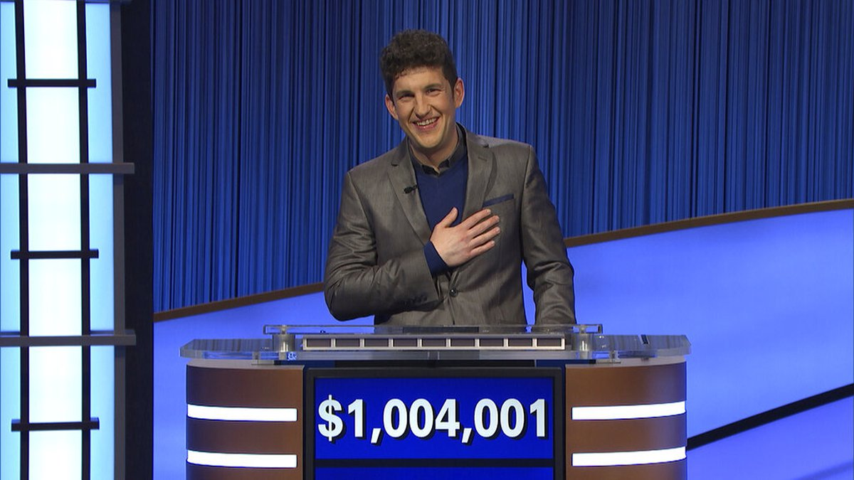 """This photo provided by Jeopardy Productions Inc. shows """"Jeopardy!"""" contestant Matt Amodio's..."""