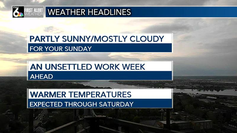 Lingering clouds and warmer temperatures on tap for your Sunday