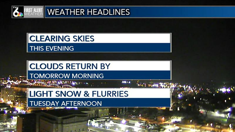 Clear skies tonight, clouds by morning, then snow chances tomorrow afternoon.