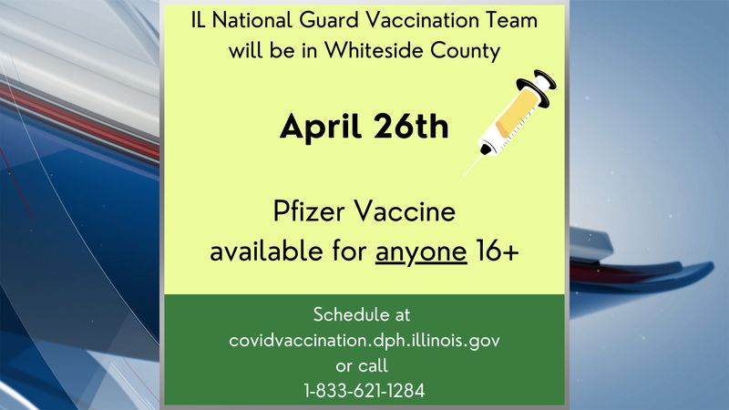 The Illinois National Guard will be visiting Whiteside County to help with a vaccination clinic.